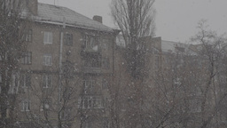 Snowfall In The City. 3840-2160. UHD stock footage