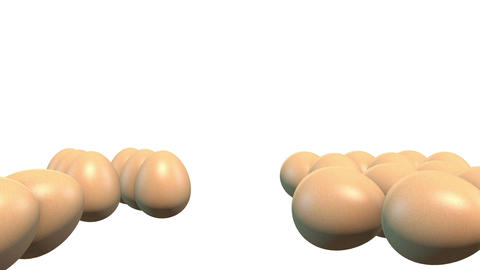 3D Falling Eggs In White Background stock footage