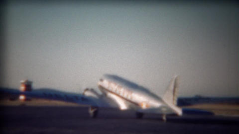1943: Delta propeller commercial airplane takeoff on airport runway Footage
