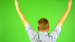 Man - Green Screen - Portrait - Man Rejoices (enjoy) - Win stock footage