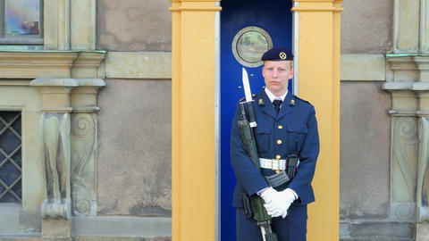 STOCKHOLM - SWEDEN, AUGUST 2015: Female Soldier Guarding Parliament House stock footage