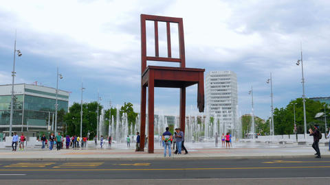 landmines symbol, broken chair monument, geneva, switzerland Footage