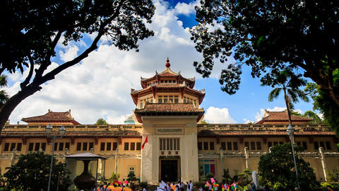 Vietnamese Official Building Used As Museum Crowd Of People stock footage