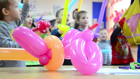 Kindergarten Children Receive Colored Balloons That They Will Fight Among Themse stock footage