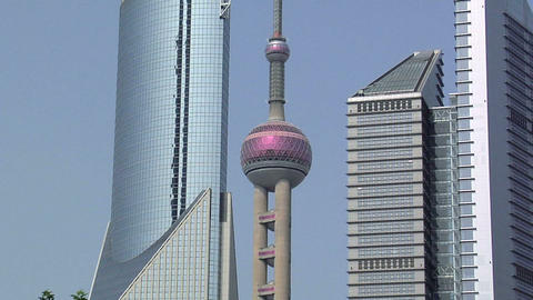 Oriental Pearl With The Bank Of China And The Bocom Financial Towers, Zoom In stock footage