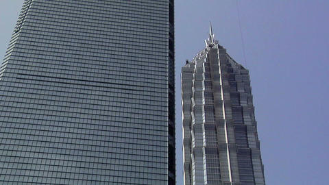 The Shanghai World Financial Center And The Jin Mao Tower, Pudong stock footage
