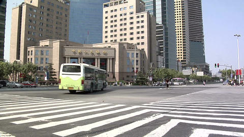 Low Angle View Of The Intersection Of Pudong Road South And Lujiazui Road stock footage