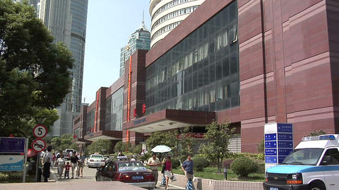The Exterior Of The Shanghai East International Medical Center In Pudong stock footage