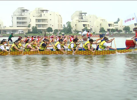Dragon Boat Racing Close Up stock footage