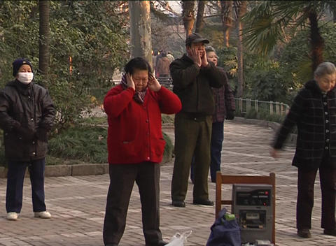 Morning Exercises In Shanghai Park stock footage