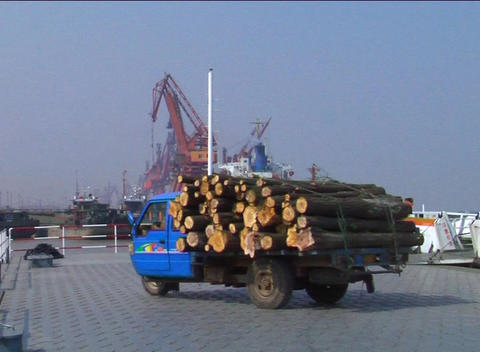 Truck Exiting Ferry In China stock footage