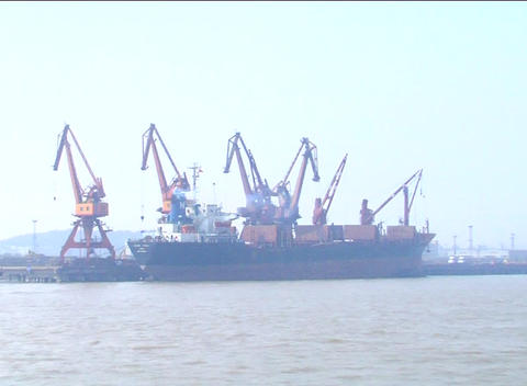 Large Ship In Dock Near Shanghai stock footage