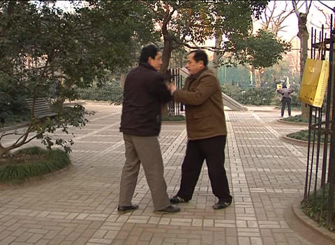 Two Martial Artists Sparring In Shanghai Park stock footage