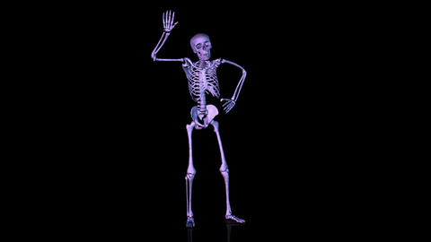 Skeleton Disco Dancing. Blue stock footage
