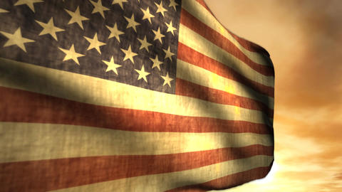 1040 Old Gory American Weathered Flag Animation