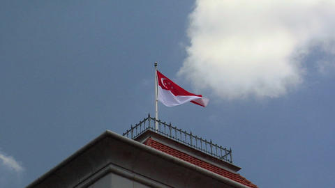 Singapore Flag on top of the Parliament House Footage