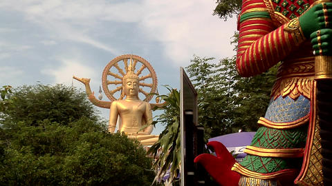 The Big Buddha at Wat Phra Yai in Thambon Bo, Koh Samui Footage