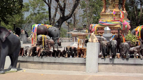 God With 4 Faces Surrounded By Elephant Guards At The Southern Tip Of Phuket stock footage