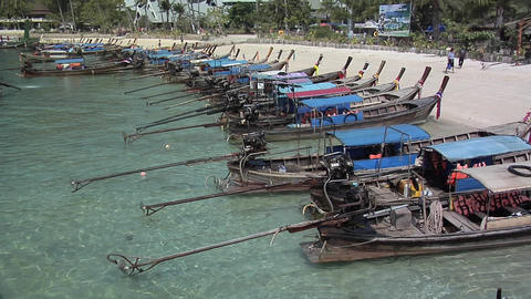 Long Tail Boats On Ao Loh Lam Beach stock footage