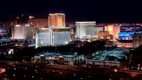 Casino Hotels Of The Las Vegas Strip Early Evening stock footage