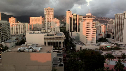 Birds Eye View late Afternoon of Down Town, Honolulu, Hawaii Footage