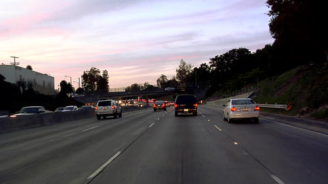 POV on Hollywood Freeway 101 early Evening in Los Angeles Footage
