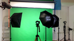 film production - behind scenes - lighting - green screen studio Footage