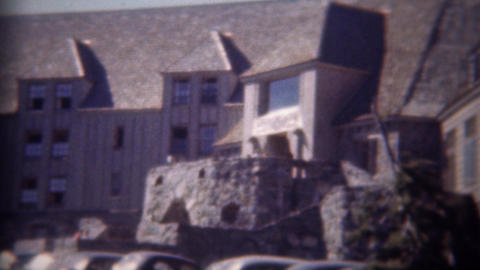 1946: Timberline Lodge Hotel Travel Center Sign And Epic Building stock footage