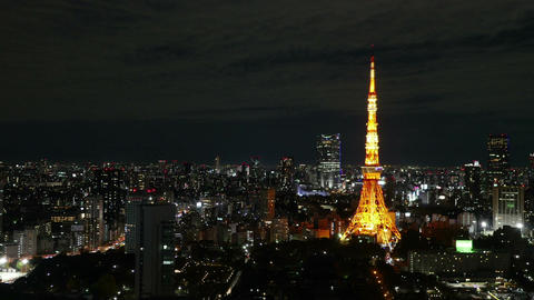High Angle Motion Timelapse Of Central Tokyo Nightscape stock footage