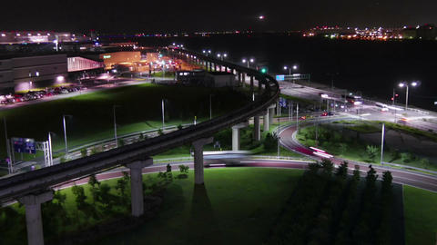 Nightlapse Of Landing Airplanes And Illumination Surrounding The Airport stock footage