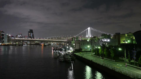 Nightlapse Of Rainbow Bridge And Port In Shinagawa stock footage