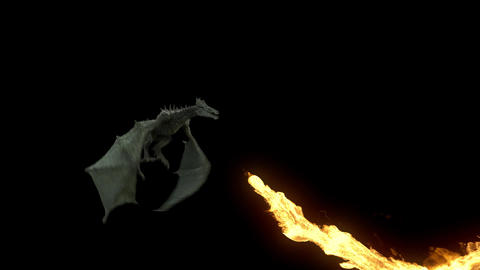 Realistic Dragon Flying And Breathing Fire. Looped Clip With Alpha Matte stock footage