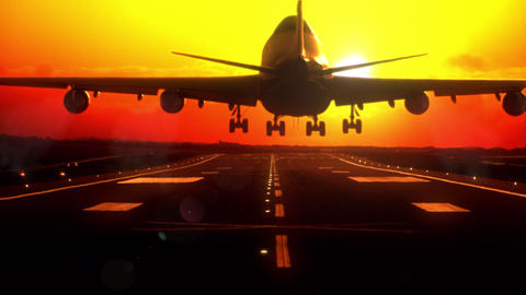 Airplane Landing At Sunset. Long-focus Lens stock footage