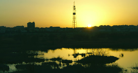 Twilight In The City.Sunset In Bucharest,Romania, In Vacaresti Delta, Time Lapse stock footage