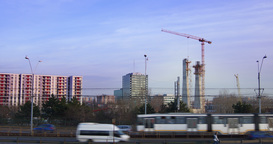 Building Construction Site With Cranes And Traffic In Bucharest, Romania, 4k, Ti stock footage