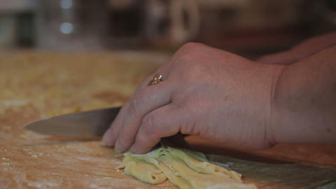 Home Made Pasta. Cutting Pasta stock footage