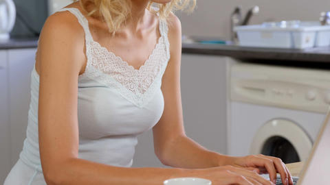 Cute Blonde Using Laptop In Kitchen stock footage