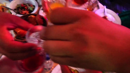 Group Of People Toasting At A Celebration Clinking Their Glasses Together In Con stock footage