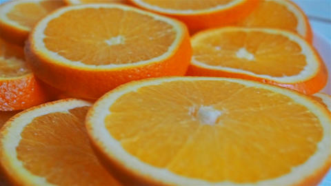 Slices Of An Orange Shooting Passing stock footage