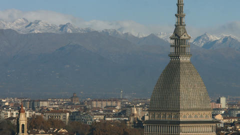 City View Of Turin In A Sunny Morning In Autumn With The Mountains (2) stock footage