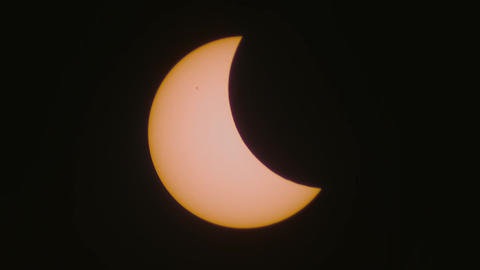 The Partial Solar Eclipse Captured Through A Telescope, March 20, 2015 stock footage