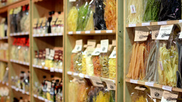 Colourful Pasta (olive Oil, Flour Etc.) In Bags In Shelf - Shop stock footage