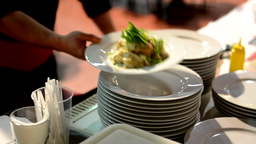 Chef Prepared Food (meal: Pasta) - Waiter Carries Meals To Customers stock footage