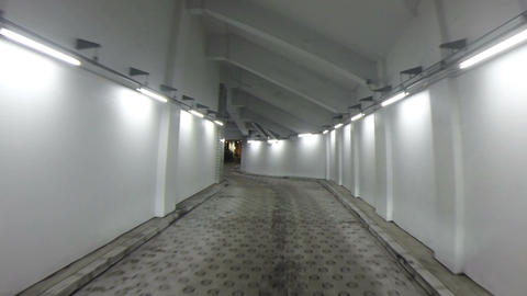 Futuristic lights and decor surrounding the parking exit at the World Trade Cent Footage