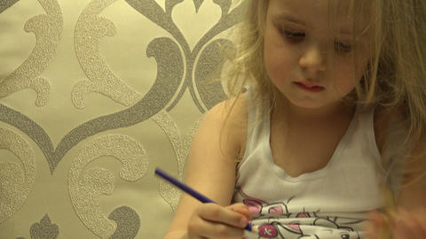 Adorable Cute Painter Girl With Pen Create A Picture. 4K UltraHD, UHD stock footage
