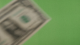 Falling One Dollar In Green Screen stock footage