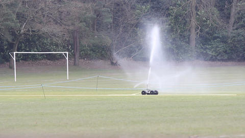 Football Pitch Sprinkler System stock footage
