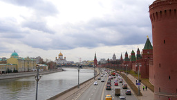 View Of The Moscow River From The Bridge. Cathedral Of Christ. Moscow. Real Time stock footage