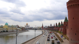 View of the Moscow River from the bridge. Cathedral of Christ. Moscow. Time-Laps Footage