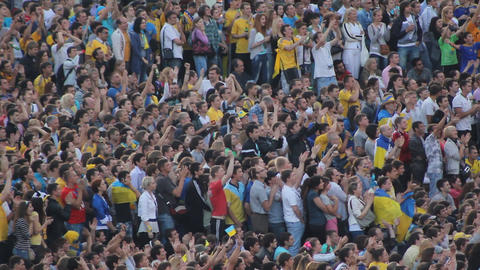 Euro 2012 Kyiv. Applause Of People Watching Football On The Main Square stock footage